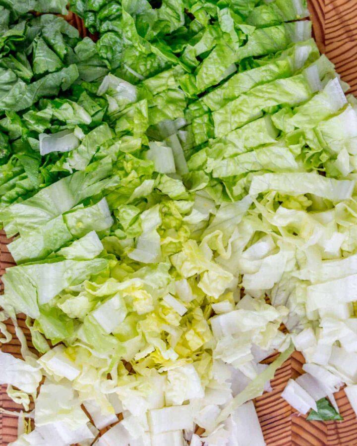 diced romaine lettuce.