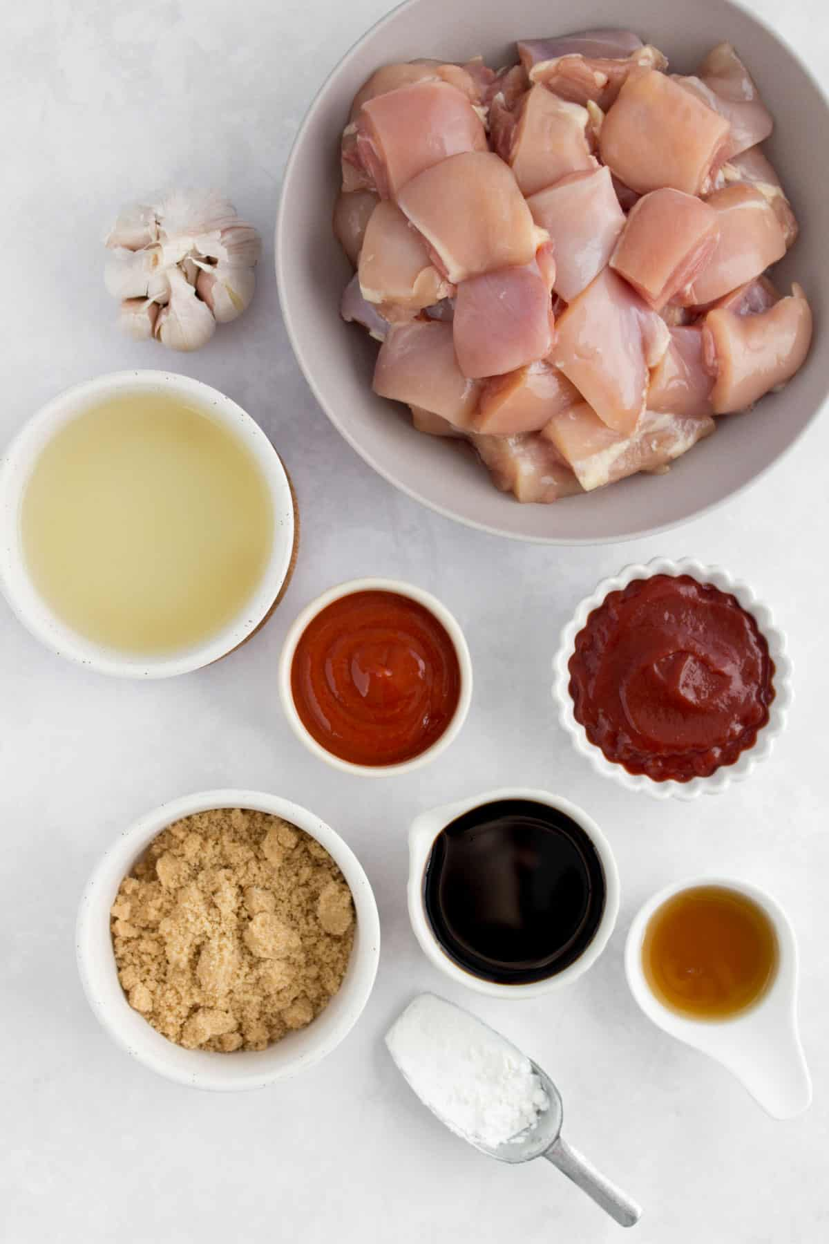 Overhead image of ingredients for instant pot sesame chicken.