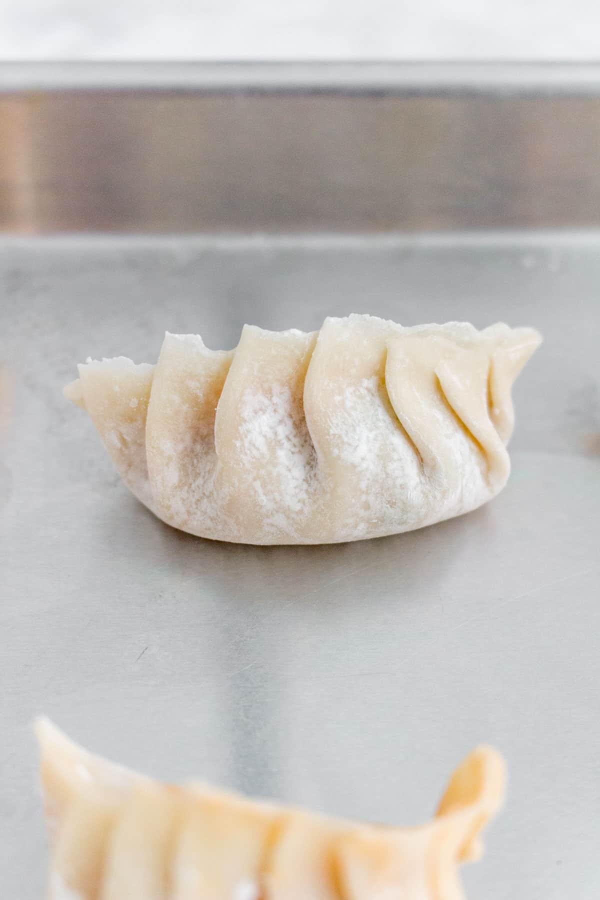 Close up of a raw pork dumplings.