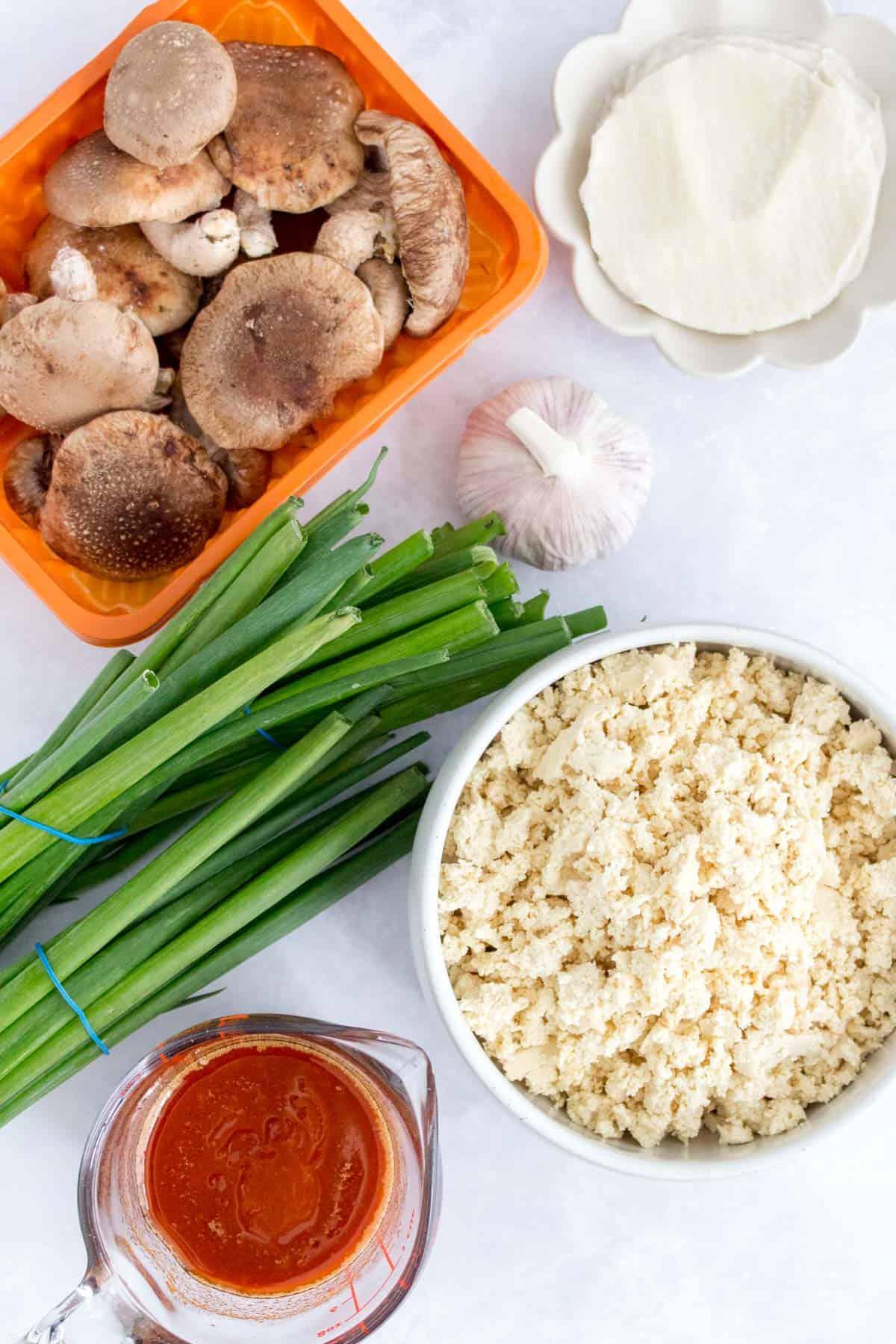 Ingredients needed to make dumplings.
