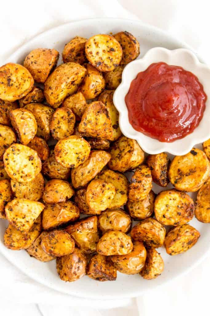 Plate of air fryer baby potatoes.