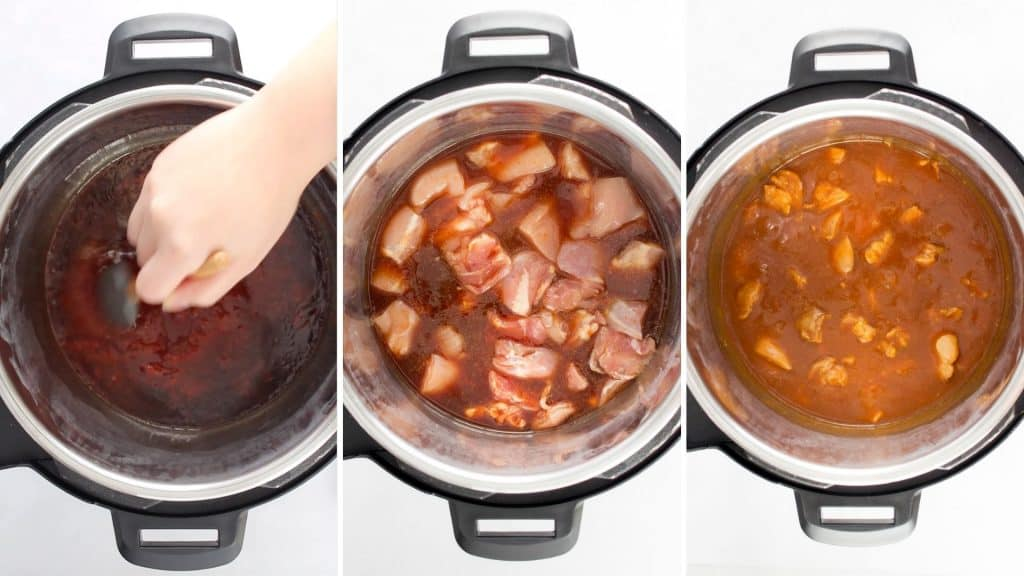 Step by step photo showing the sauce being mixed in the Instant Pot, chicken being added in, and the sesame chicken cooked in the pressure cooker.