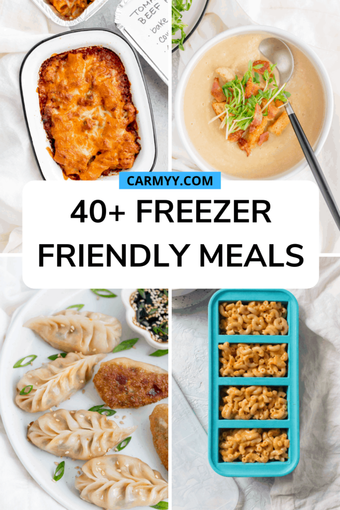 "Set of 4 images with text over ""40+ Freezer Friendly Meals."""