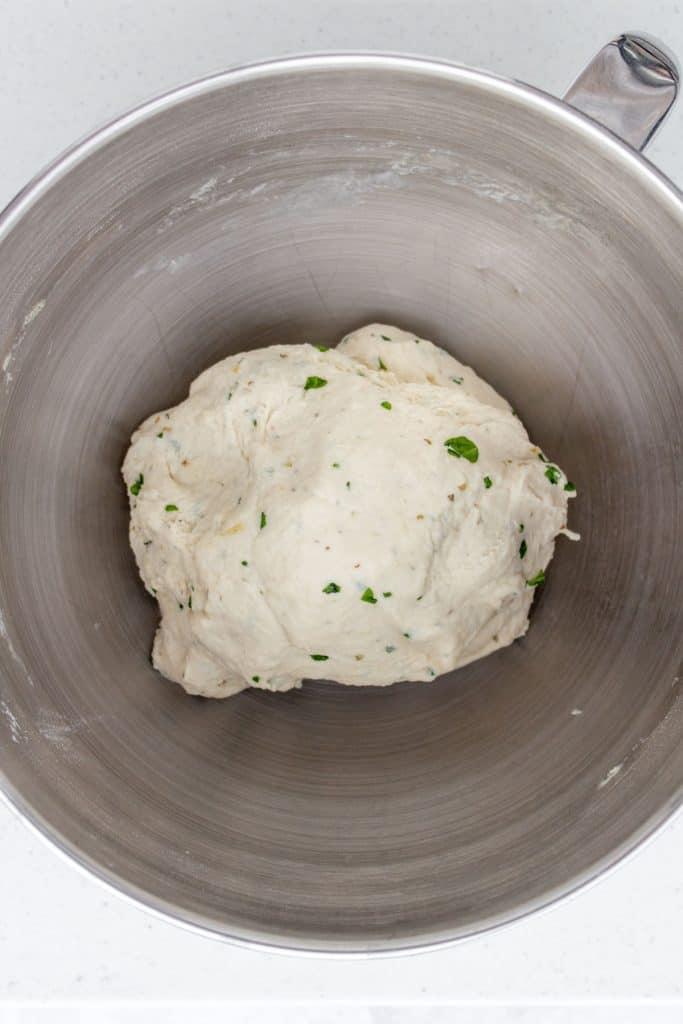 Mixed flatbread dough.