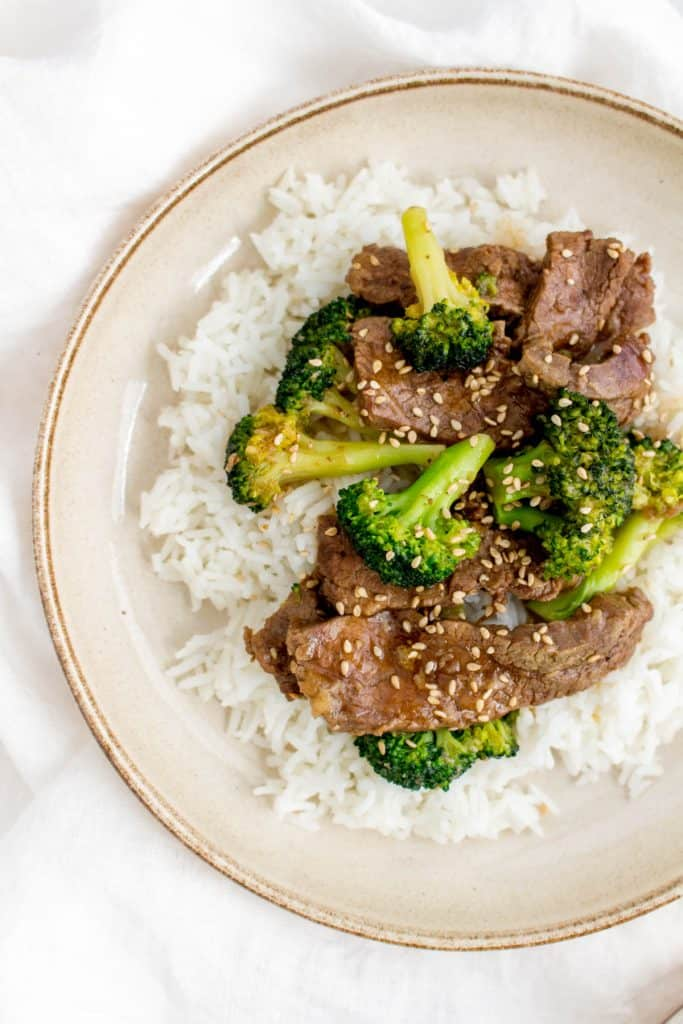Close up of instant pot beef and broccoli over rice.