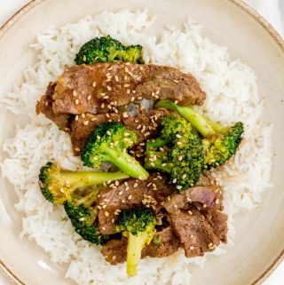 Close up of beef, broccoli, and rice.