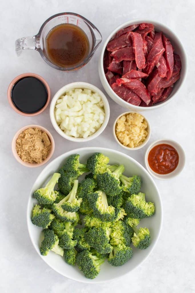 Overhead view of ingredients needed for Instant Pot Beef and Broccoli.