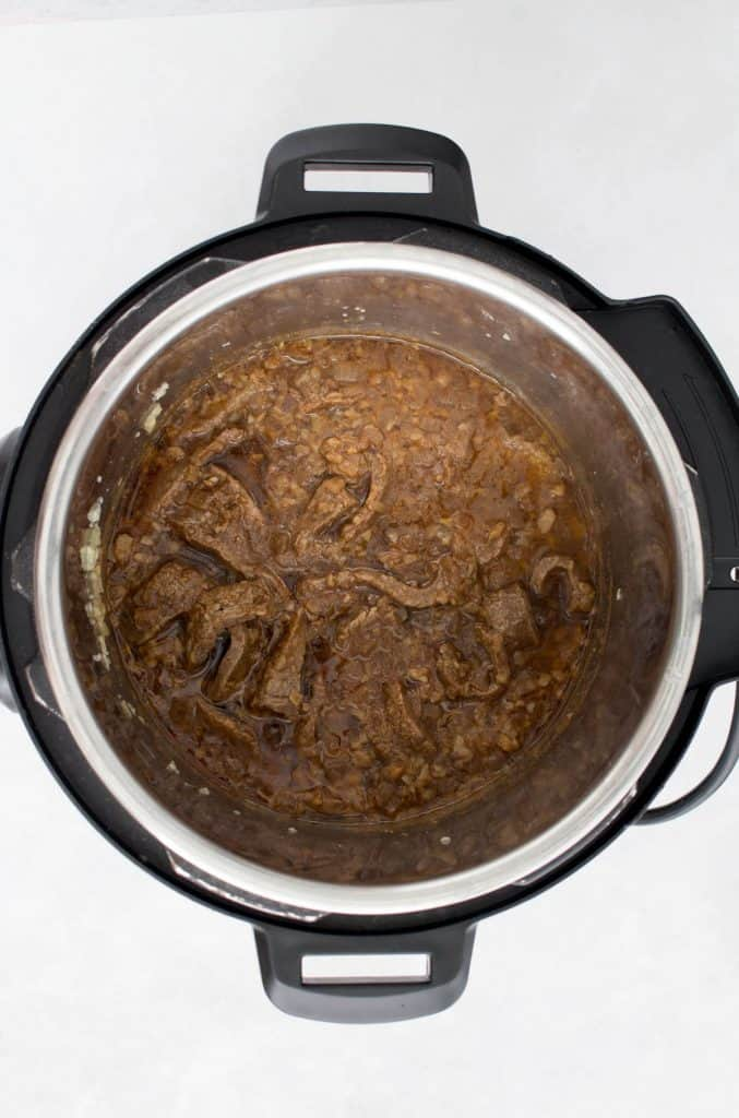 Cooked beef in the instant pot.