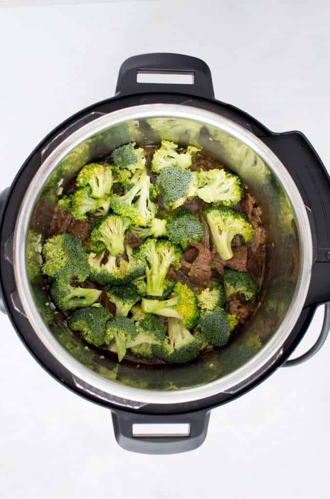 Broccoli added to the instant pot.