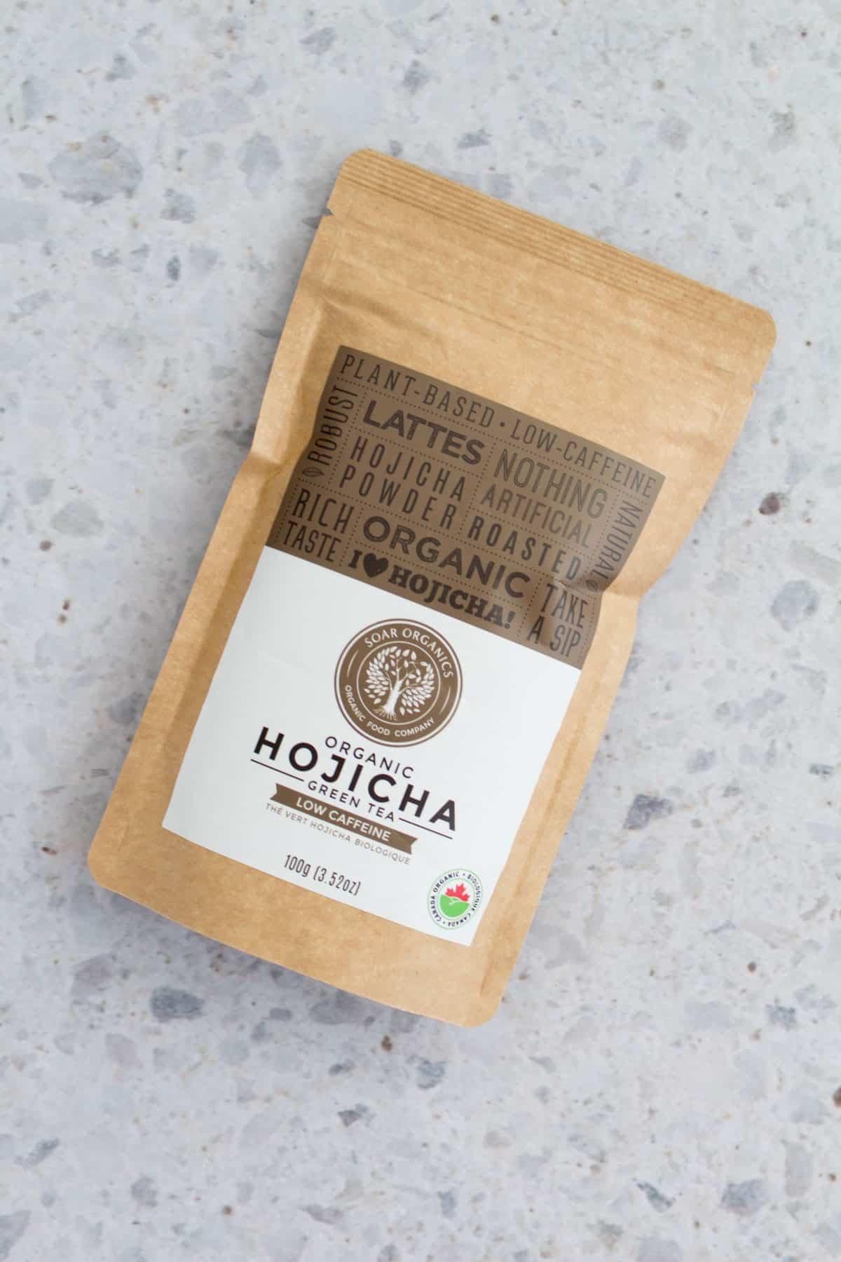 A bag of hojicha powder.