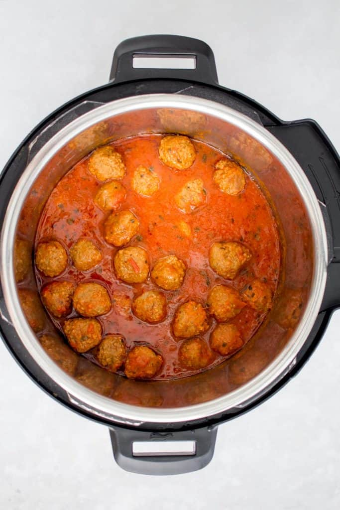 Cooked meatballs from frozen in an Instant Pot.