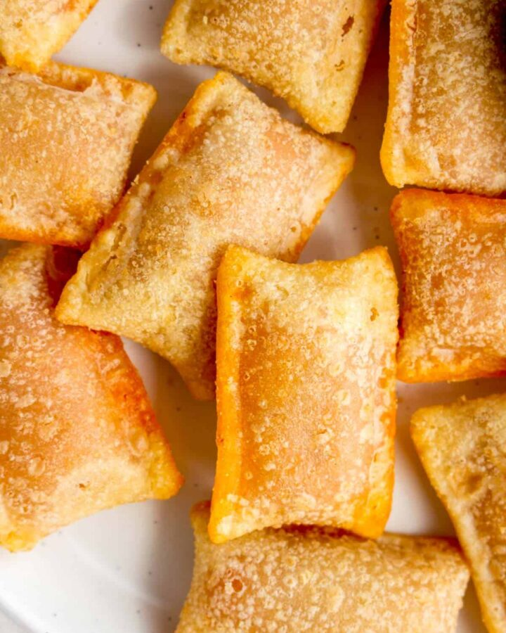 Close up of pizza bites that were air fried.