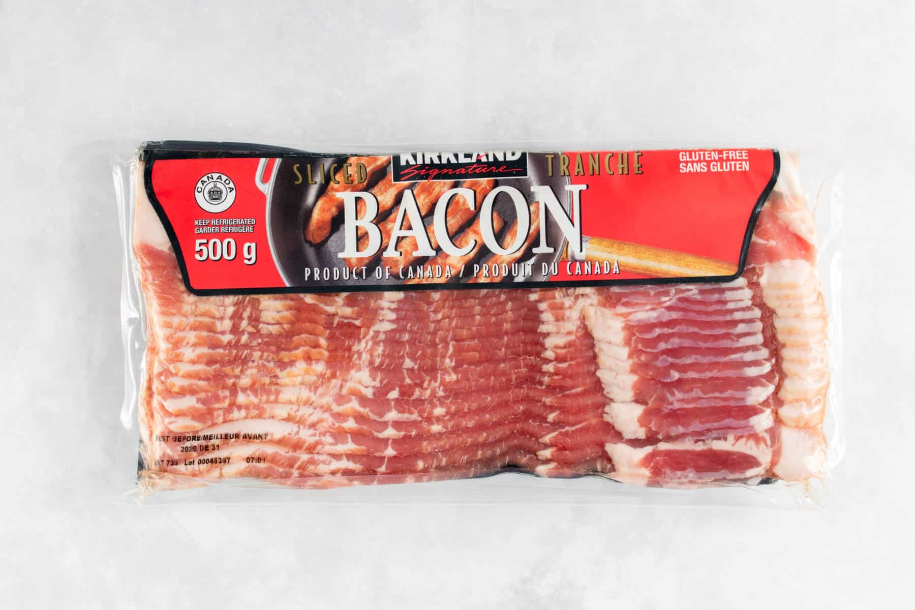 A pack of Kirkland bacon.