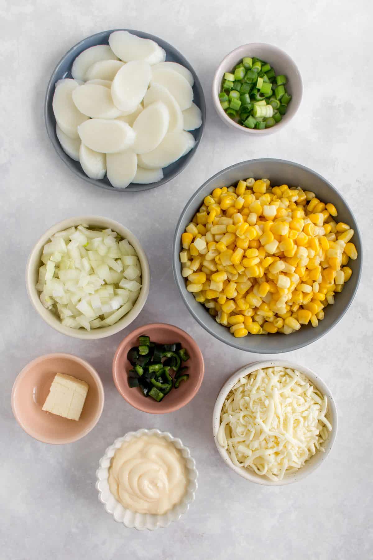 Overhead image of ingredients needed to make Korean cheese corn.