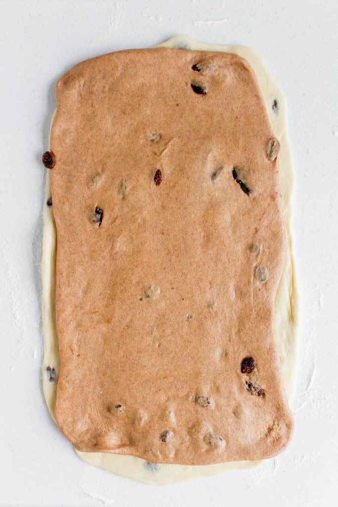 Layered cinnamon dough over the milk bread dough.