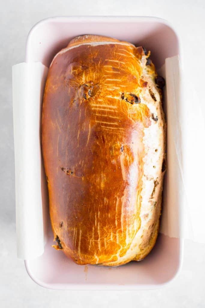 Baked cinnamon raisin swirl bread.