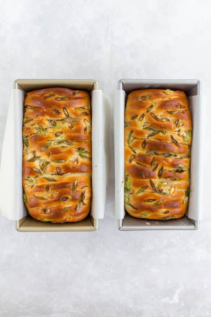 Five spice scallion milk breads baked in the bread loaf pan.