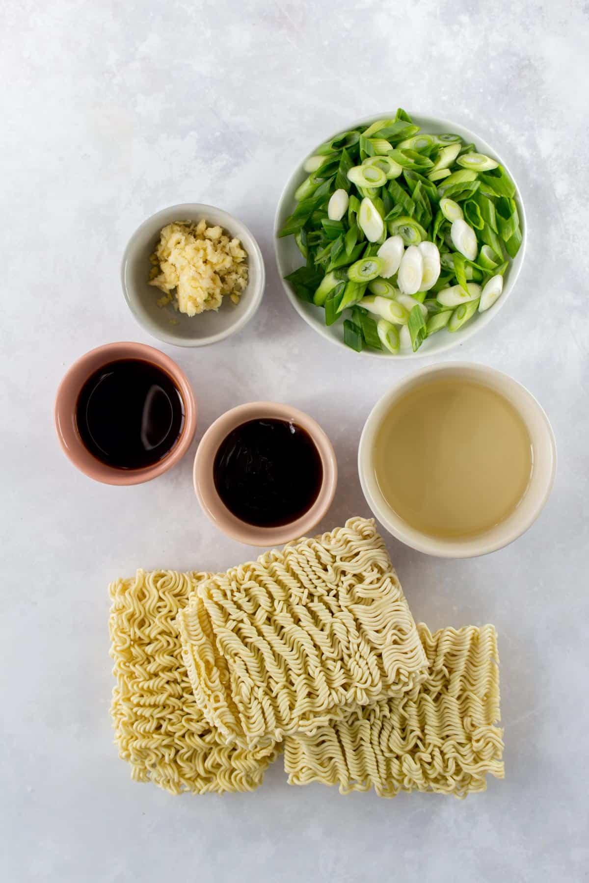 Overhead photo of garlic scallion noodles ingredients.