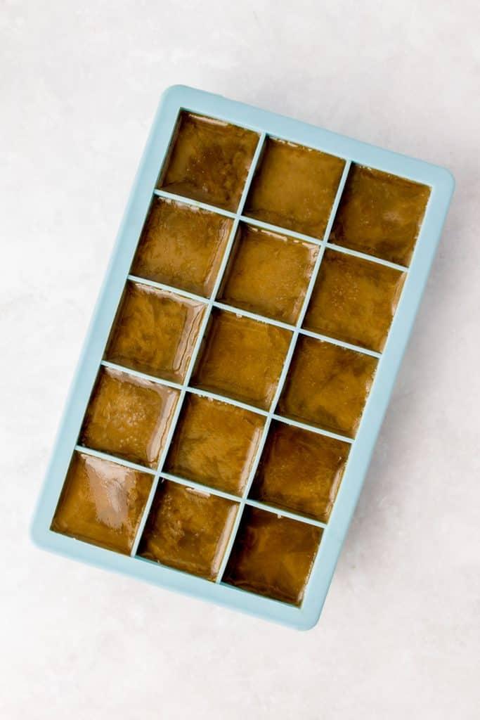 Frozen hojicha ice cubes.