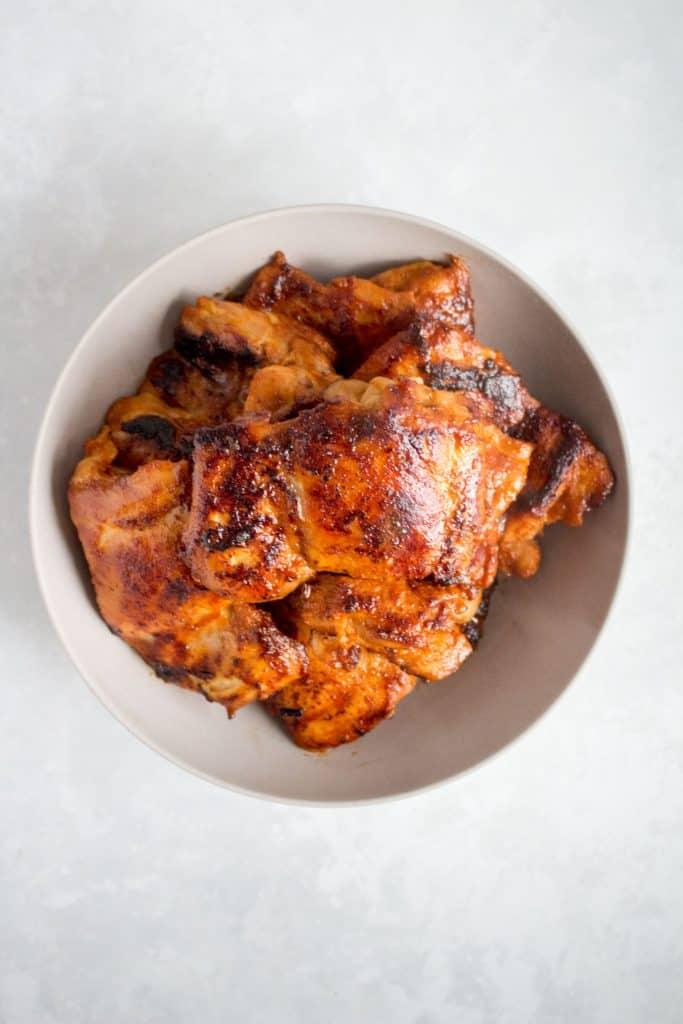 Pan seared Korean chicken thighs.