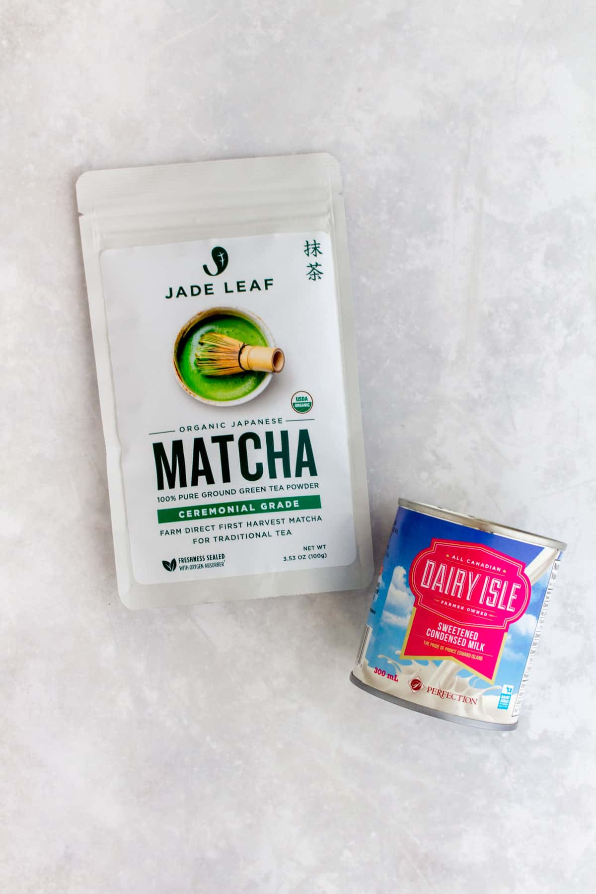ingredients for matcha iced latte ice cubes.