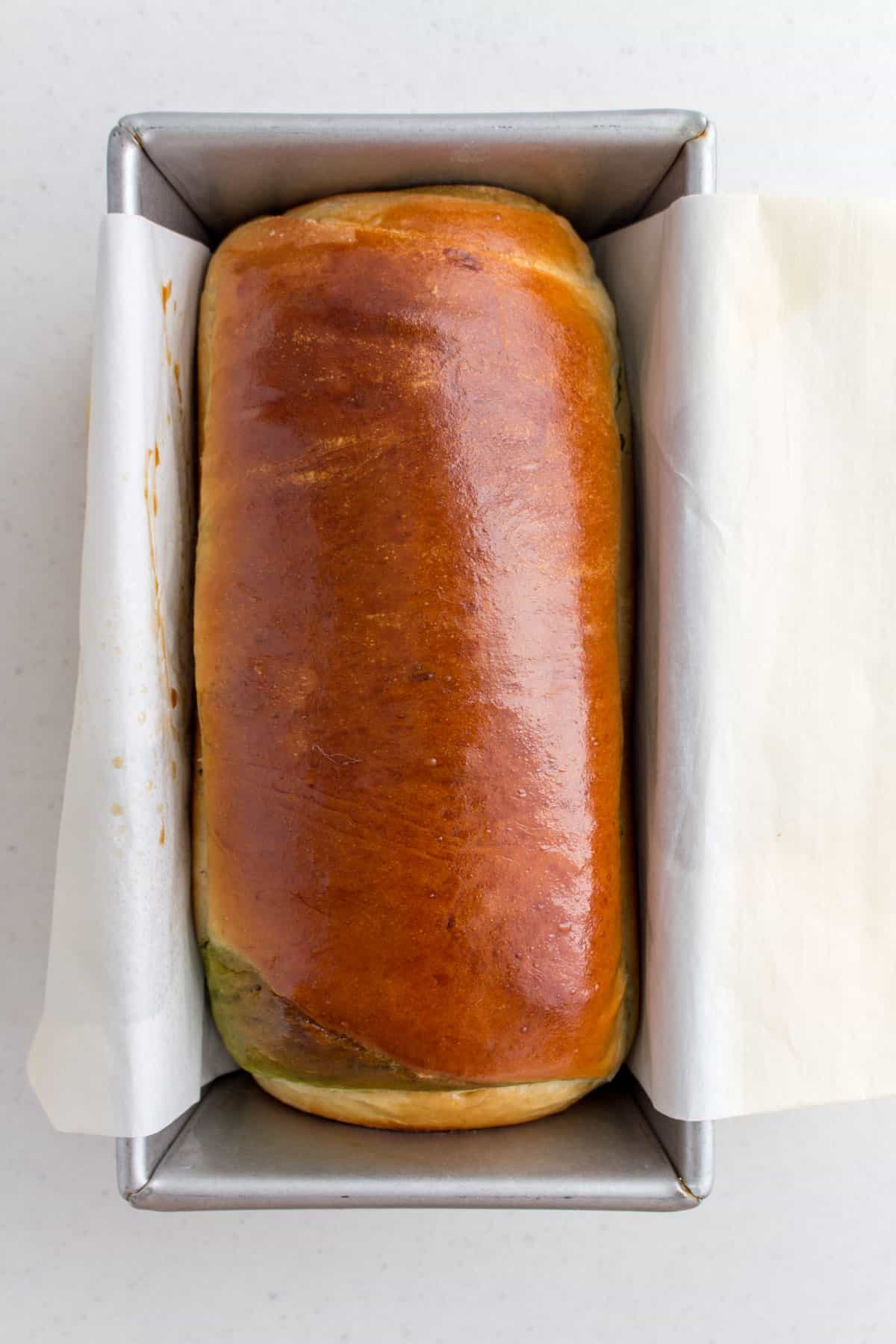 Freshly baked matcha swirl milk bread.