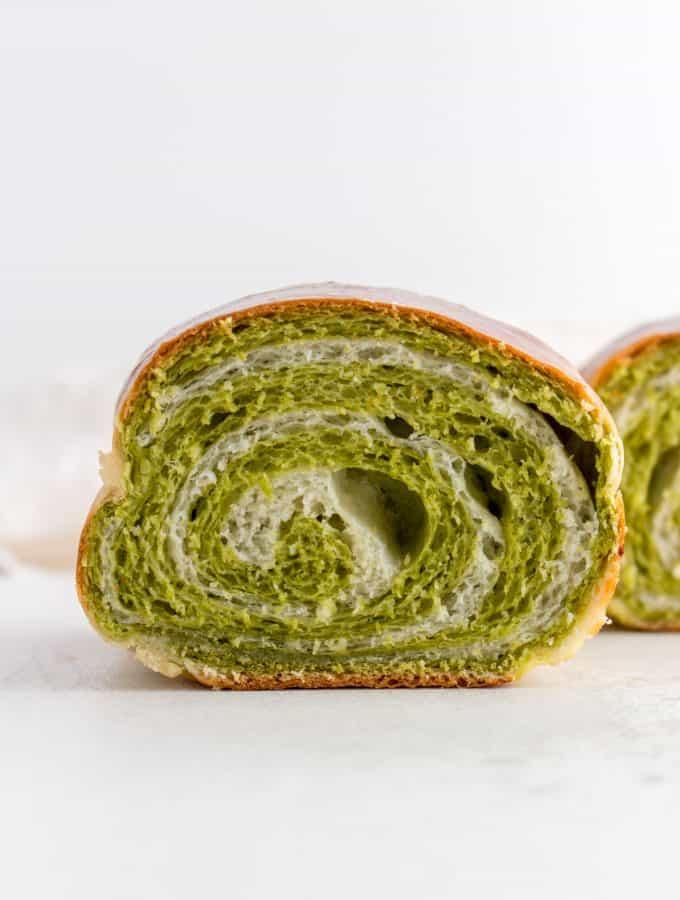Crumb shot of swirl matcha milk bread