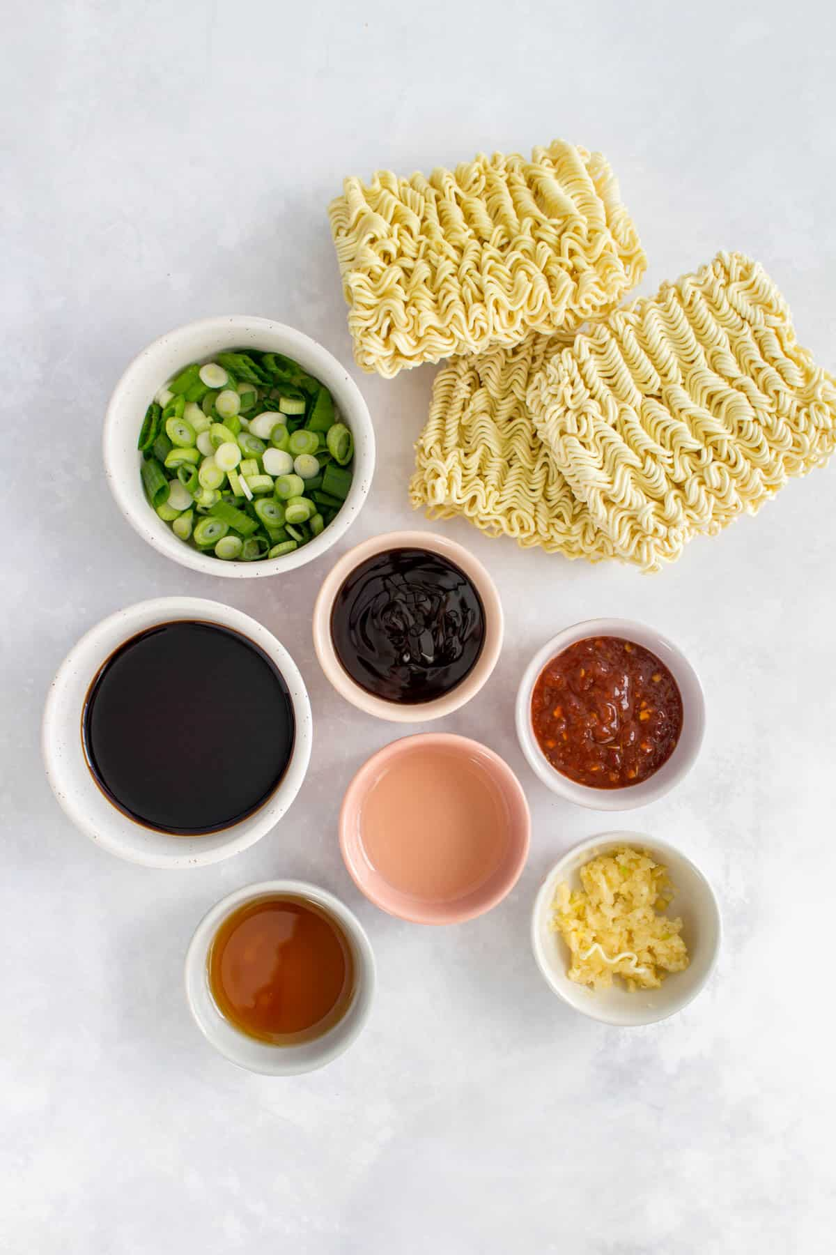 Overhead photo of ingredients need to make sesame noodles.