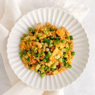 Plate of cauliflower fried rice.