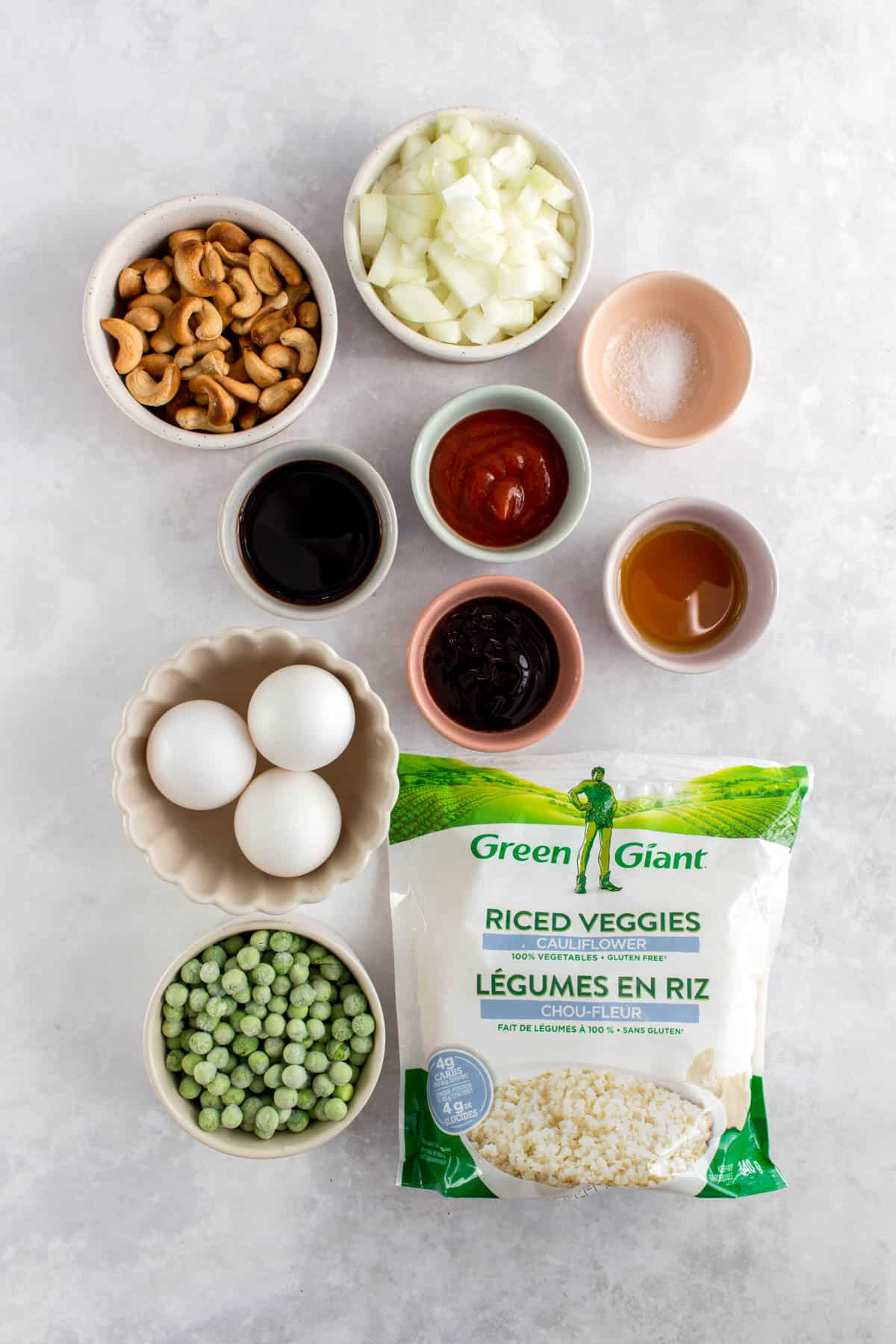 Ingredients for cauliflower fried rice.