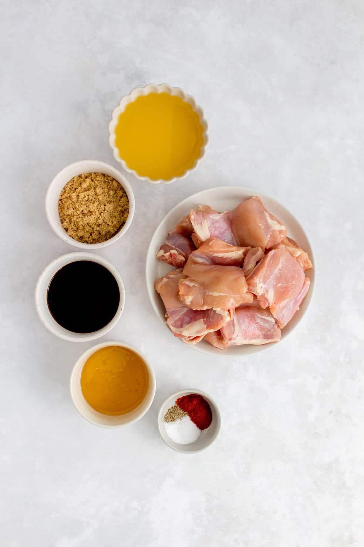 Ingredients for orange glazed chicken thighs.