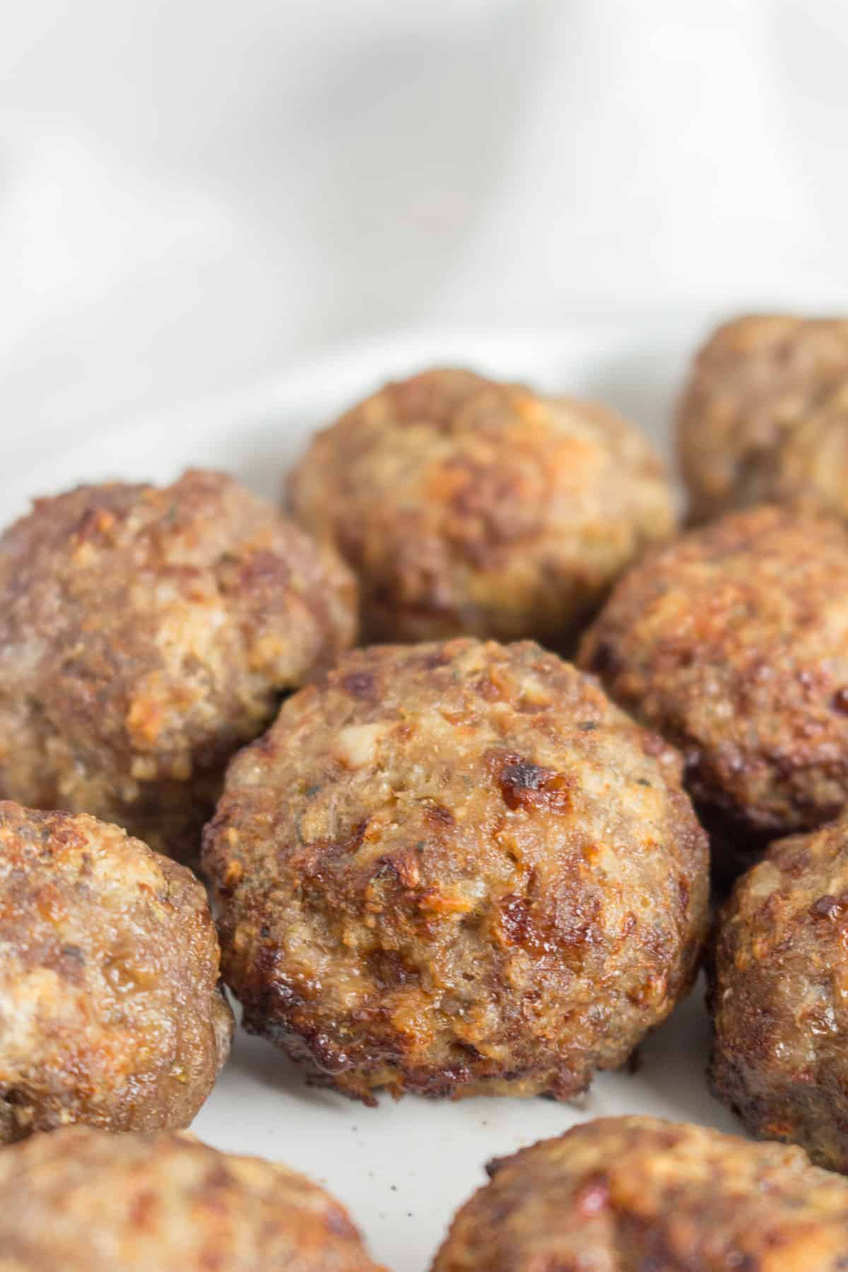 Close up of a beef air fryer meatball.