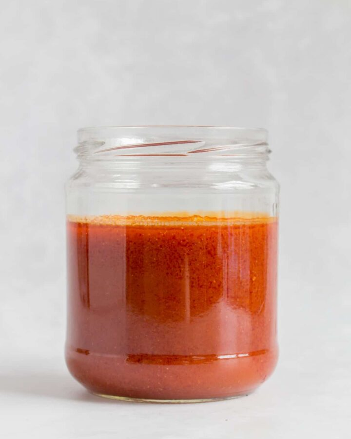Buffalo sauce in a jar.