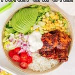 Turn this Honey Chipotle Chicken into a salad or a rice burrito bowl. This juicy stove top chicken is so easy to make. Perfect for a quick weeknight dinner or as a meal prep!