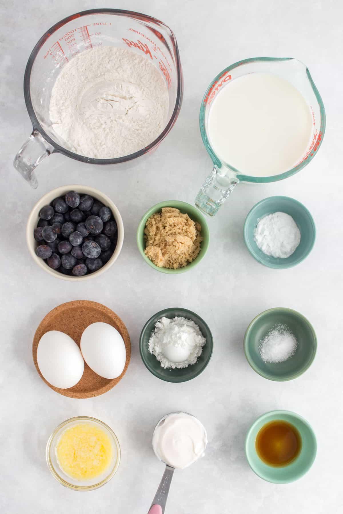 Ingredients needed to make sheet pan pancakes.