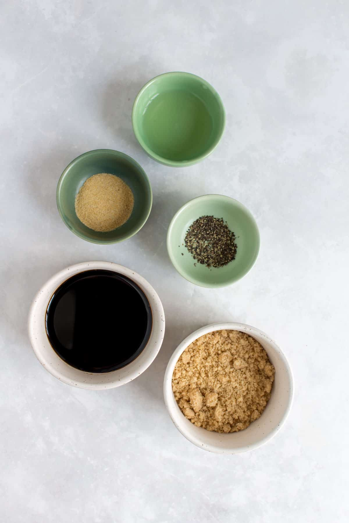 Ingredients needed to make dakgangjeong/soy garlic glaze.