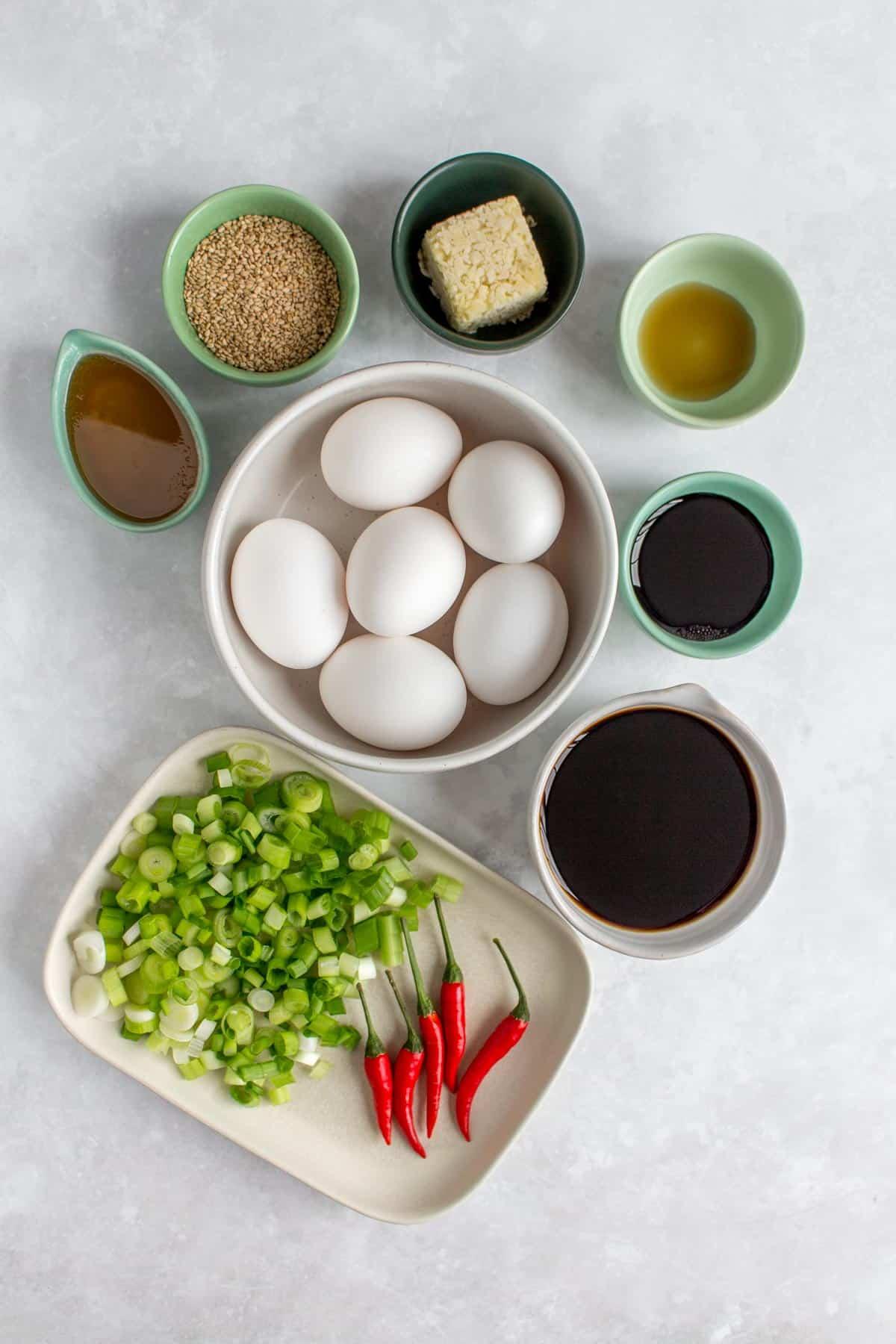 Ingredients needed to make Korean marinated egg (mayak eggs)