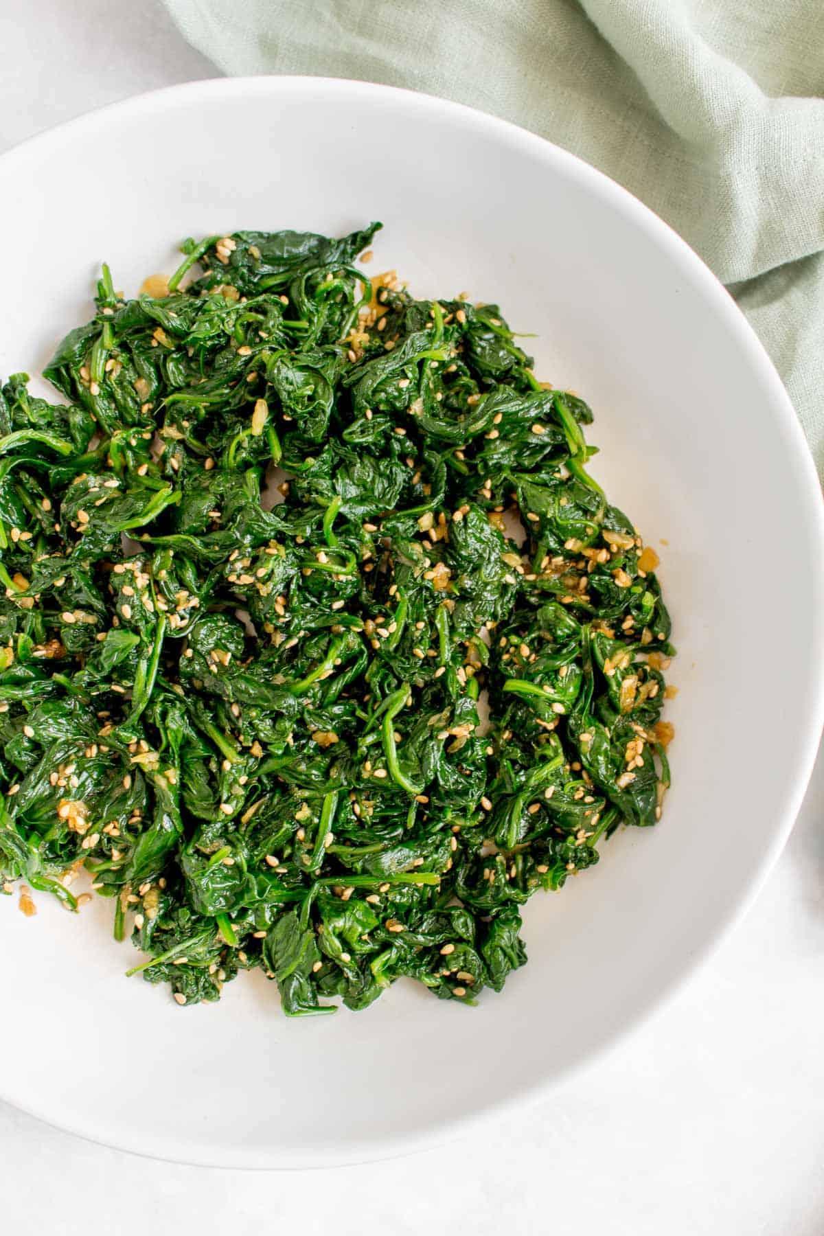 Close up of Korean spinach banchan.