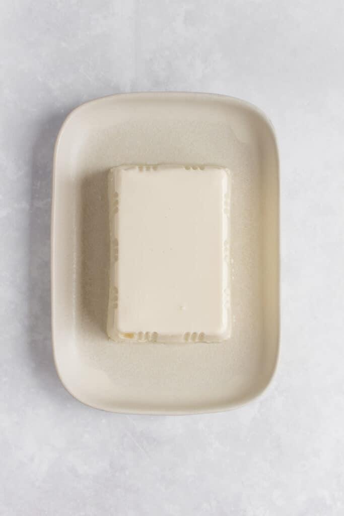 Overhead view of a block of silken tofu.