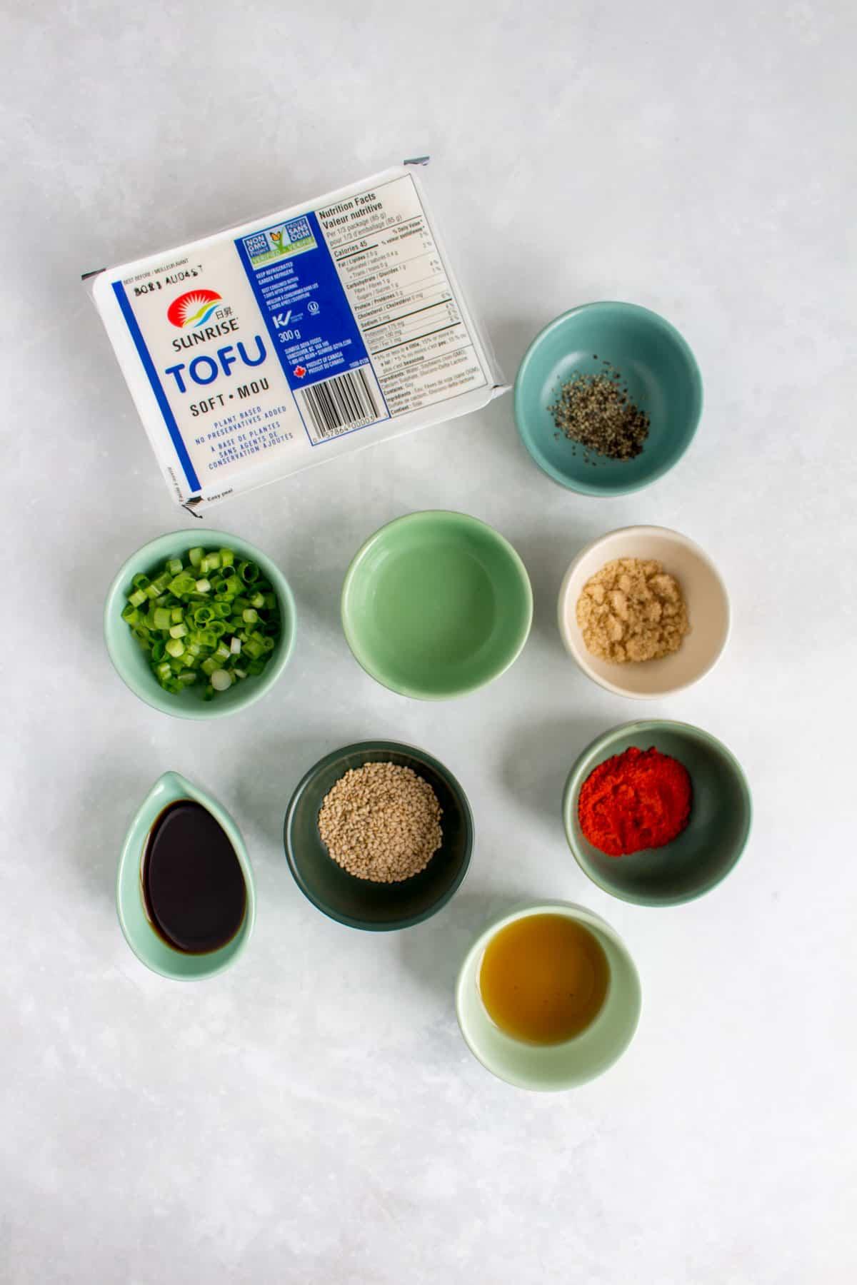 Ingredients needed to make silken tofu banchan.