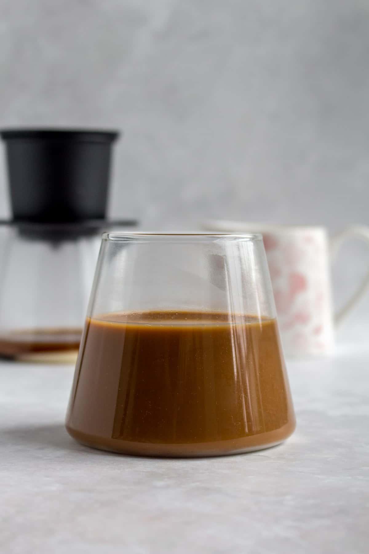 A glass of Vietnamese coffee.
