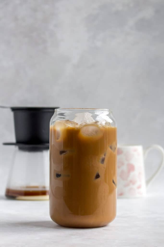 A glass of Vietnamese iced coffee.