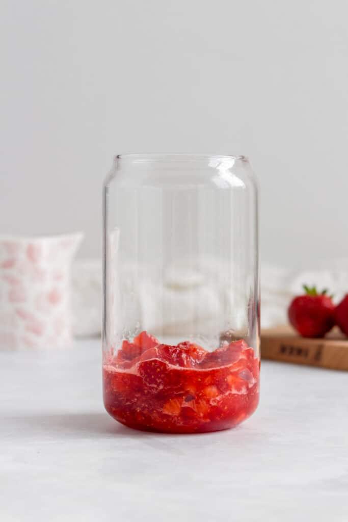 Strawberry layer in glass.